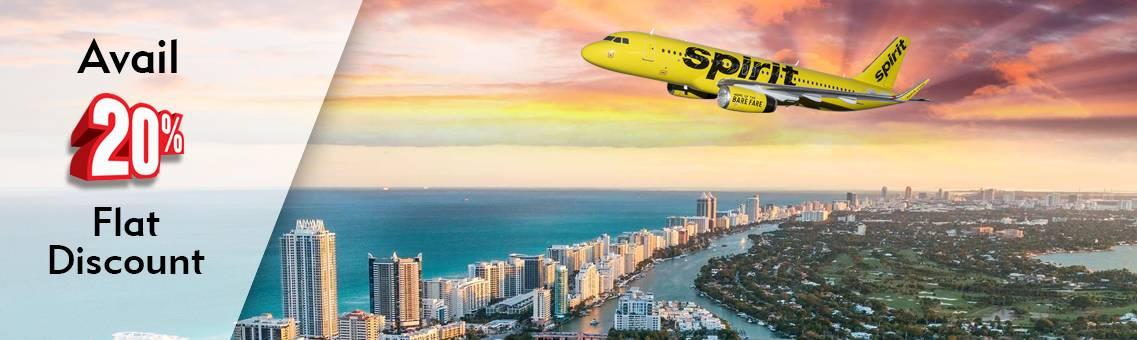Avail 20% Flat Discount on Spirit Flights to Miami